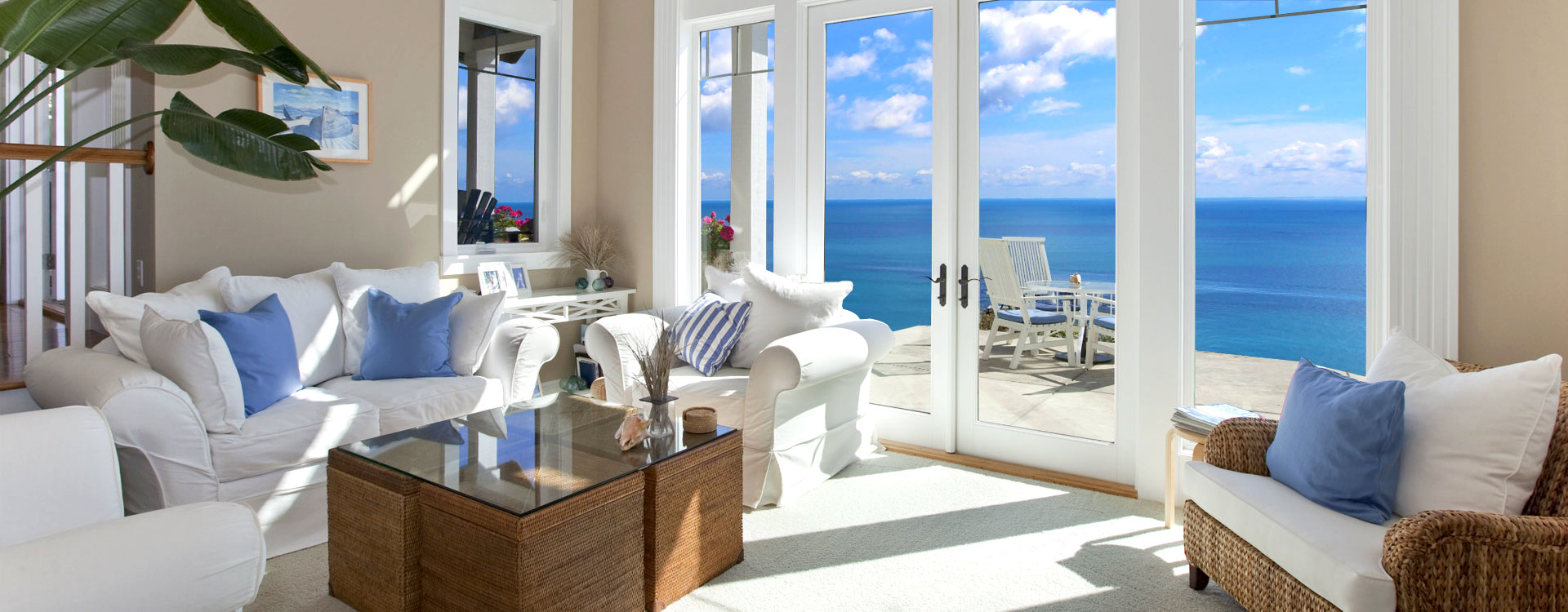 Living Room Interior with Ocean View